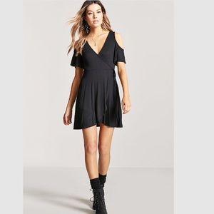 $8💋New Sexy Black Ribbed Mock Wrap Dress